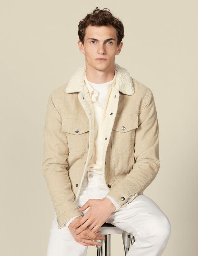 Veste en velours avec intérieur faux mouton : Blousons & Vestes couleur Beige