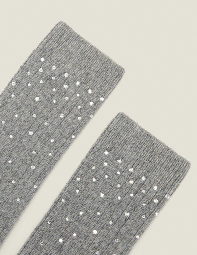 Socks embellished with rhinestones : Socks color Camel