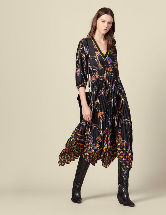 Long printed dress with pleated skirt : Dresses color Black