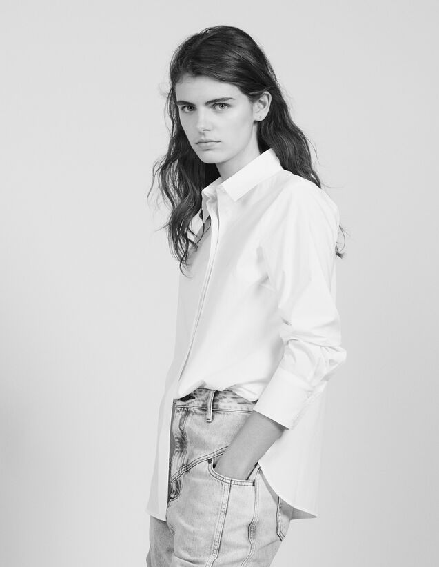 Poplin Shirt With High Cuffs : LastChance-FR-FSelection color white