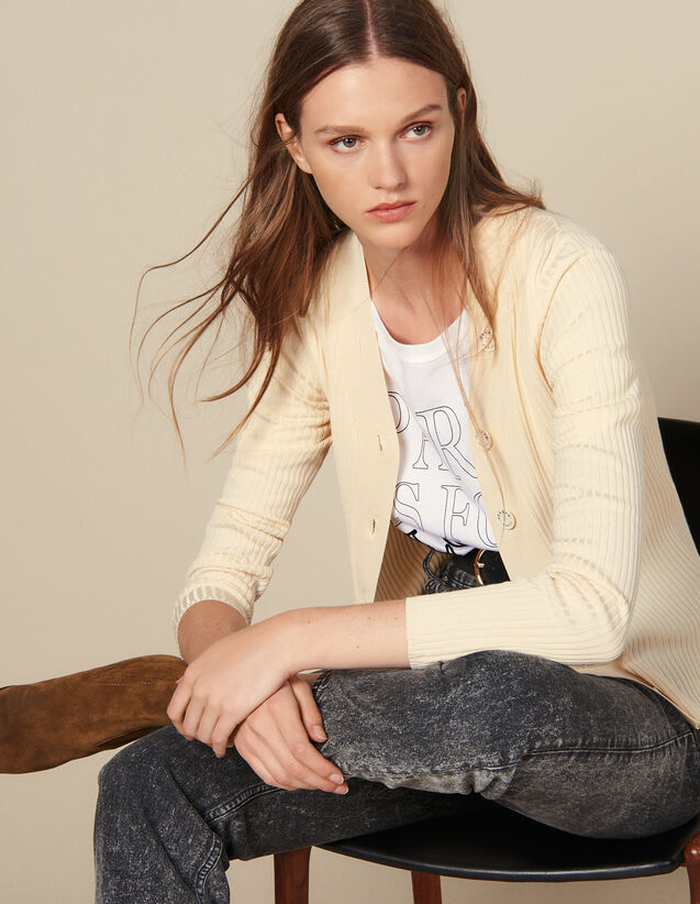 Fine Ribbed Knit Cardigan : Sweaters & Cardigans color Black
