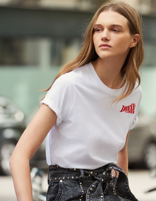 Cotton T-Shirt With Lettering : New In color white