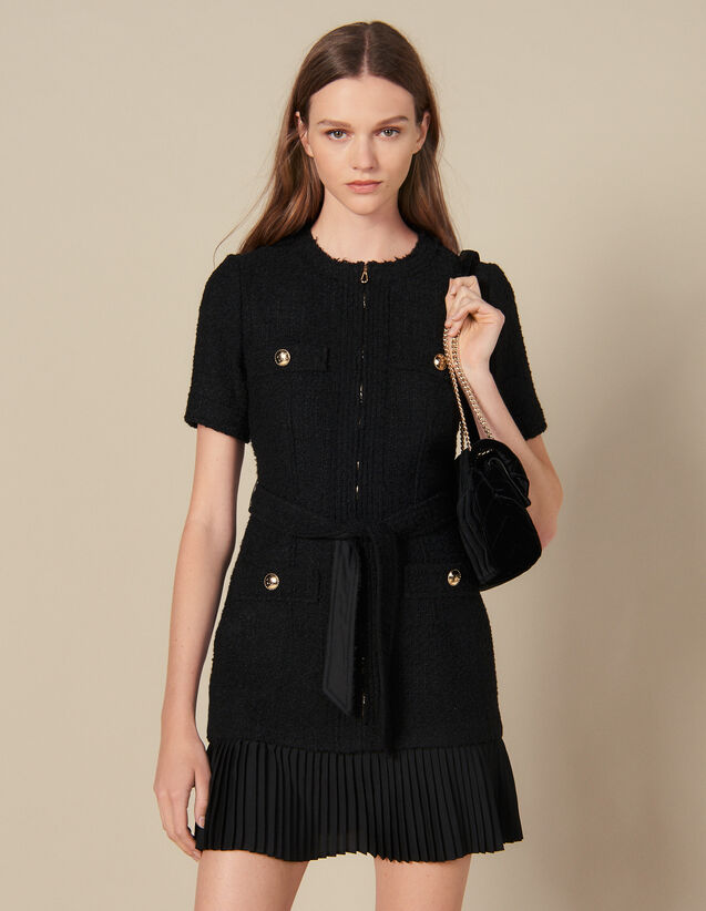 Short dress with pleated skirt bottom : Dresses color Black