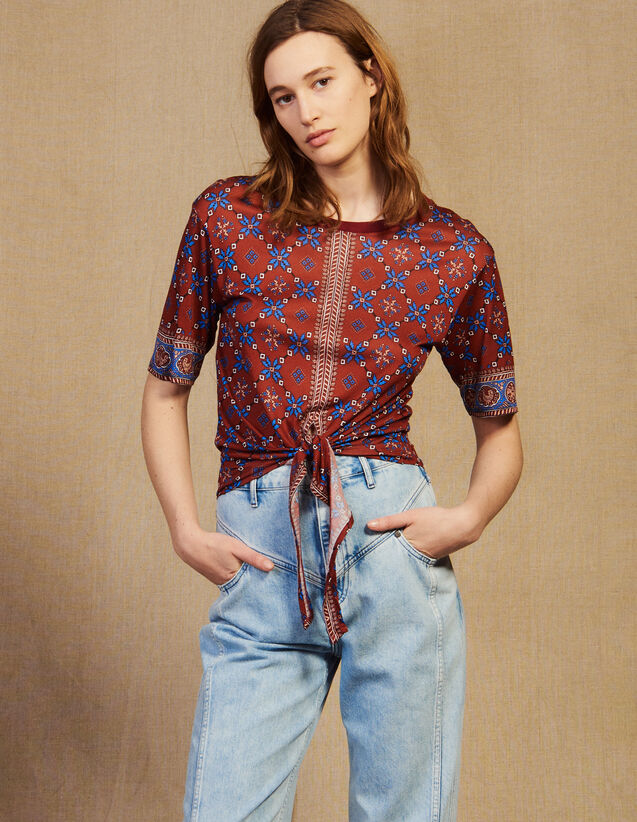 Printed T-Shirt With Tie Fastening : T-shirts color Bordeaux