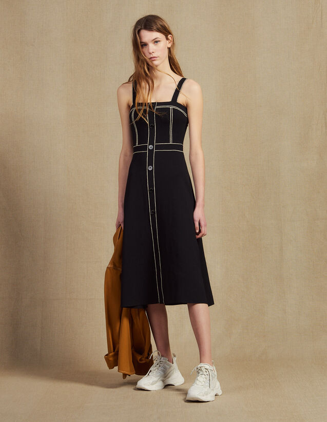 Knitted Midi Dress With Straps : Dresses color Black