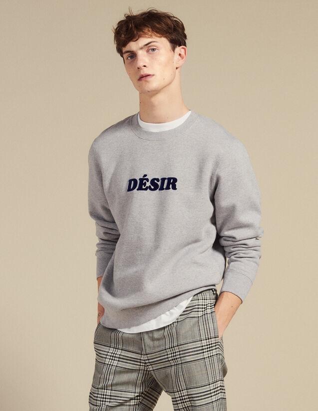 Cotton Sweatshirt With Lettering : Sweatshirts color Mocked Grey