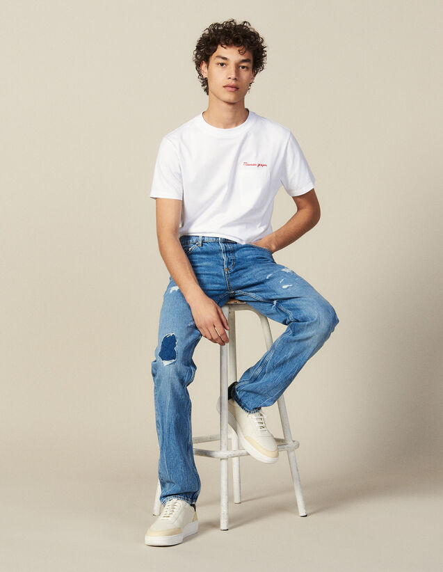 Destroyed Cotton Slim-Fit Jeans : Winter Collection color Blue Vintage - Denim