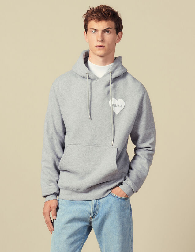 Cotton hoodie with PEACE patch : Sweatshirts color Mocked Grey