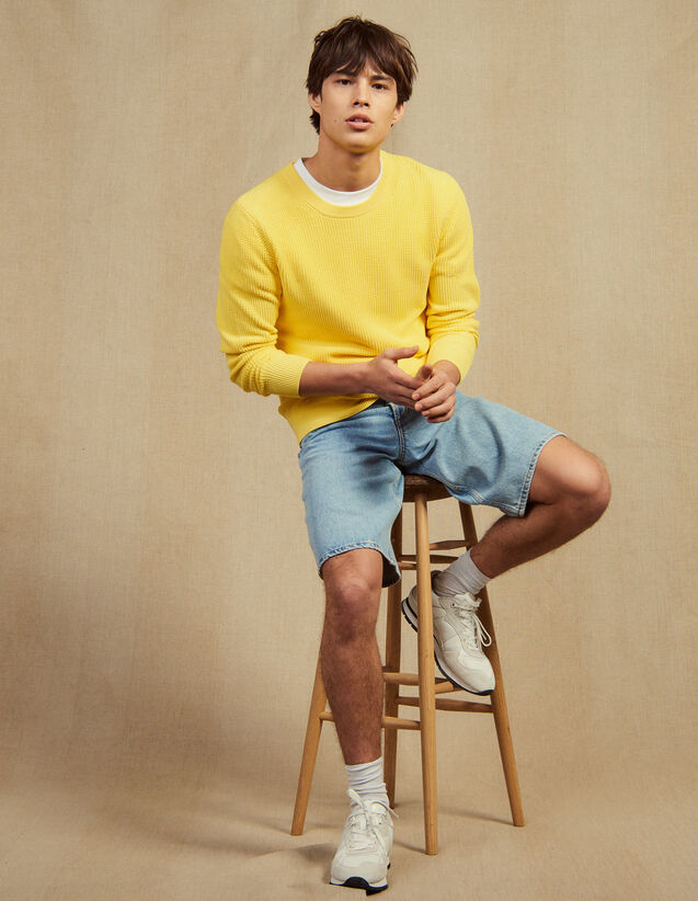 Textured Cotton Knit Sweater : Copy of All selection color white