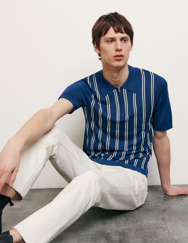 Polo rayé en maille : T-shirts & Polos couleur Bleu