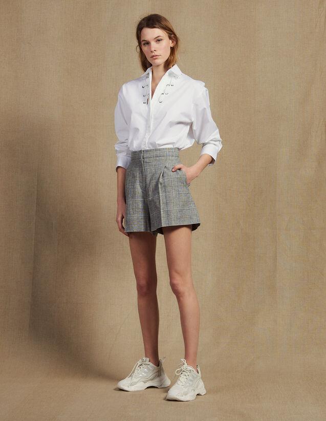 Checked Shorts : Skirts & Shorts color Grey