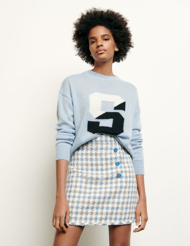 Short houndstooth tweed skirt : New Summer Collection color Blue sky