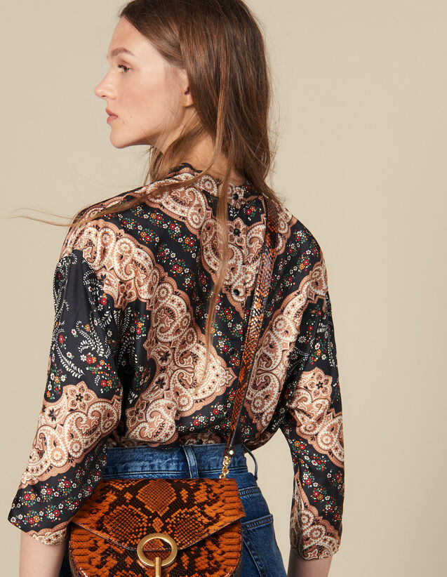 Printed Silk Twill  Top : Tops & Shirts color Black
