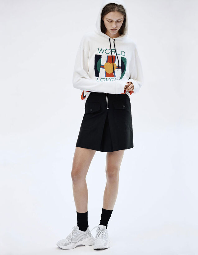 High-Waisted Skirt With Contrasting Zip : Skirts & Shorts color Black