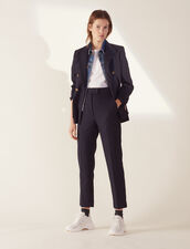 Straight-Cut Tailored Trousers : null color Navy Blue