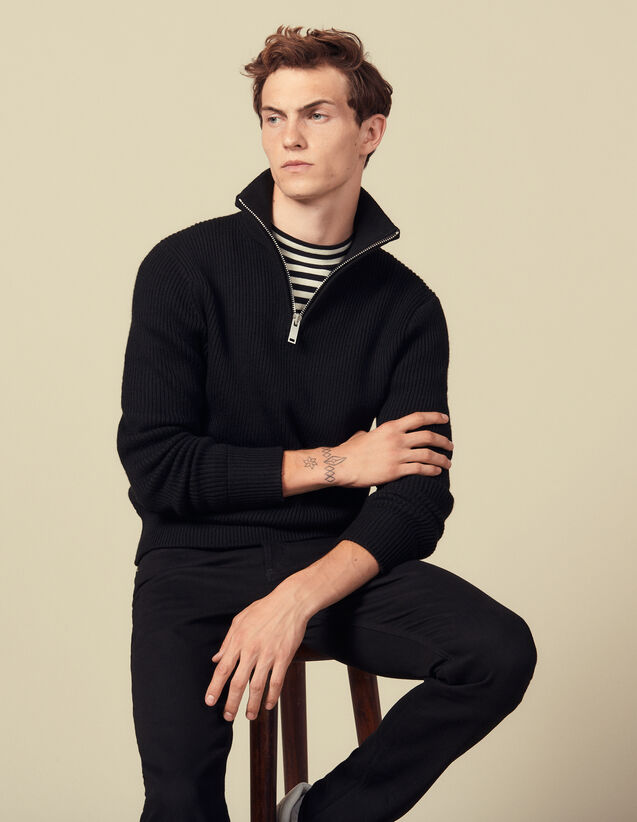 Trucker-Style Sweater : Sweaters & Cardigans color Black