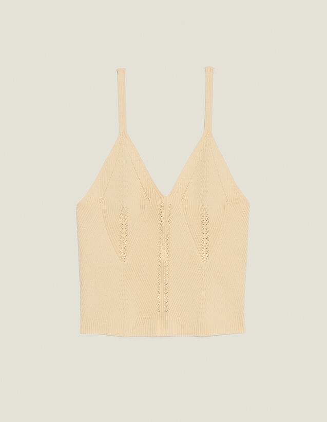 Short Knit Vest Top : null color Yellow