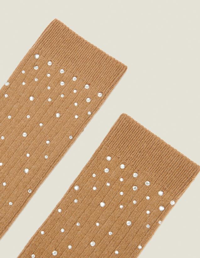 Chaussettes ornées strass : FCollection-Hiver-Acc couleur Camel