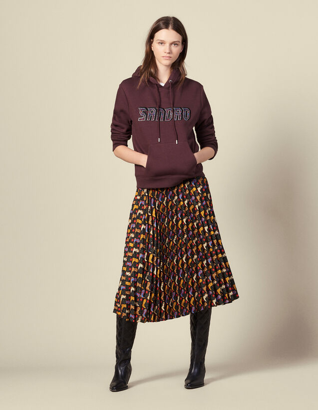Printed pleated wraparound skirt : Skirts & Shorts color Black