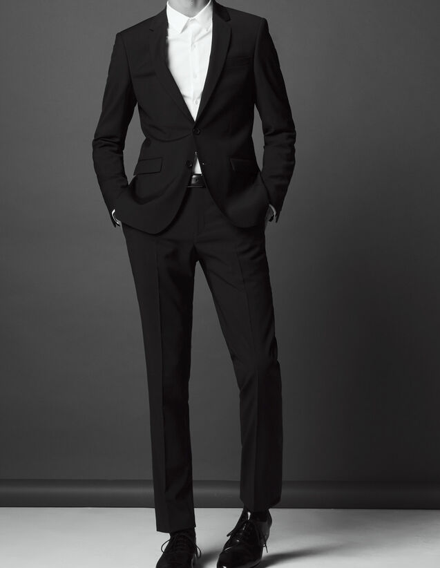 Slim fit trousers in super 120s wool : All Selection color Navy Blue