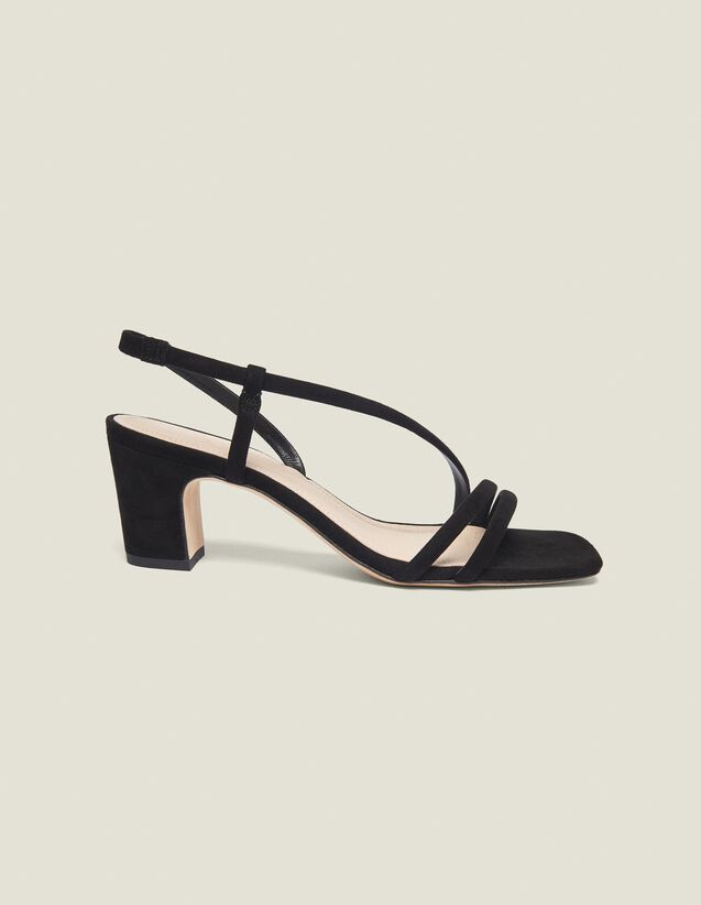 Low-Heeled Leather Sandals : Summer Collection color Black
