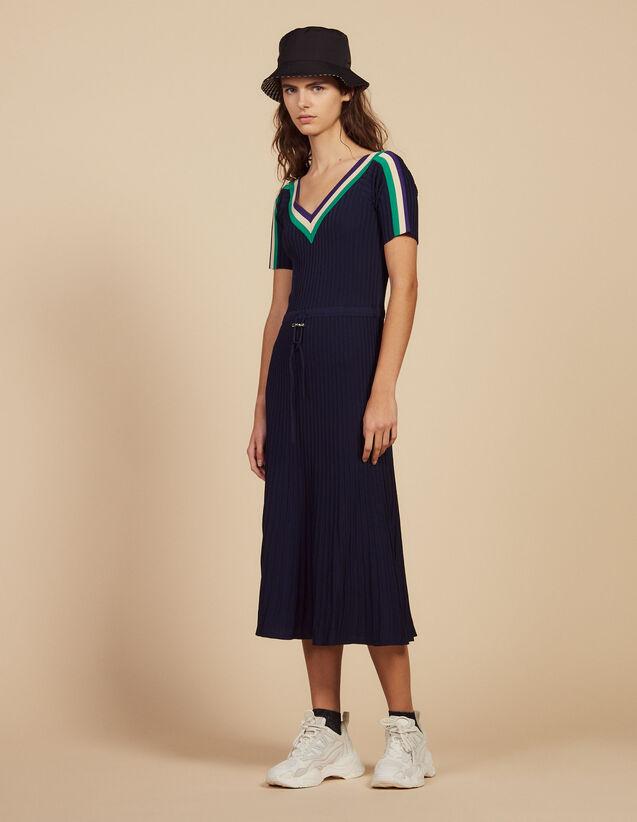 Long Sportswear Knit Dress : Dresses color Navy Blue