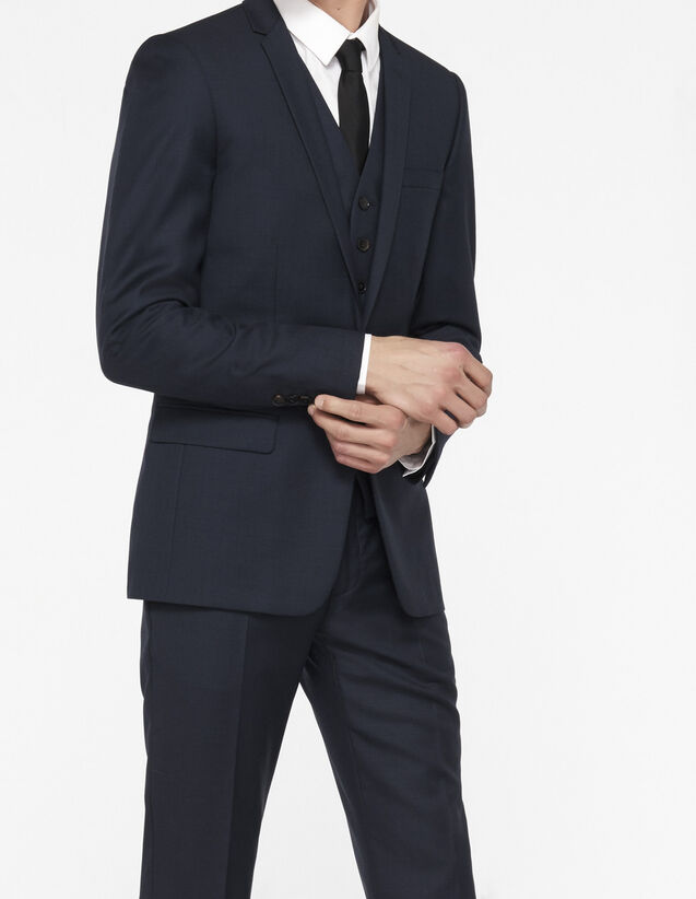 Slim fit jacket in super 100s wool : All Selection color Pétrol Blue