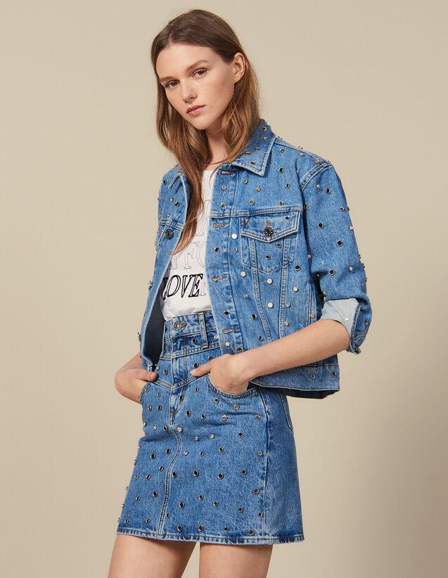 Short Denim Skirt Trimmed With Studs : Copy of VP-FR-FSelection-Jupes&Shorts color Blue Jean