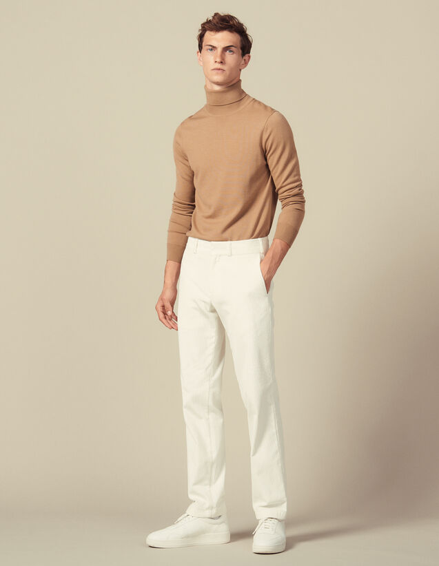 Straight-cut velvet trousers : Air color Ecru