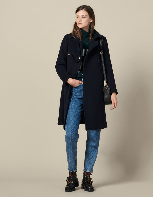 Manteau officier en laine mélangée : FBlackFriday-FR-FSelection-PAP&ACCESS couleur Marine