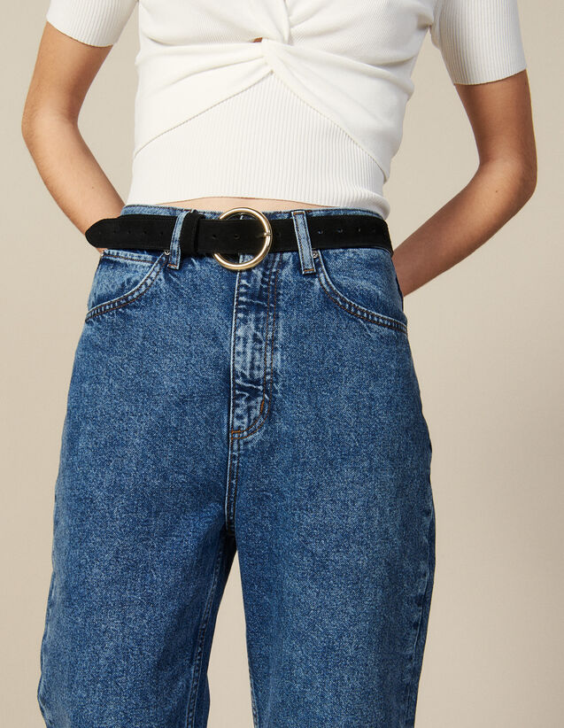Split leather belt : Best of the season color Black