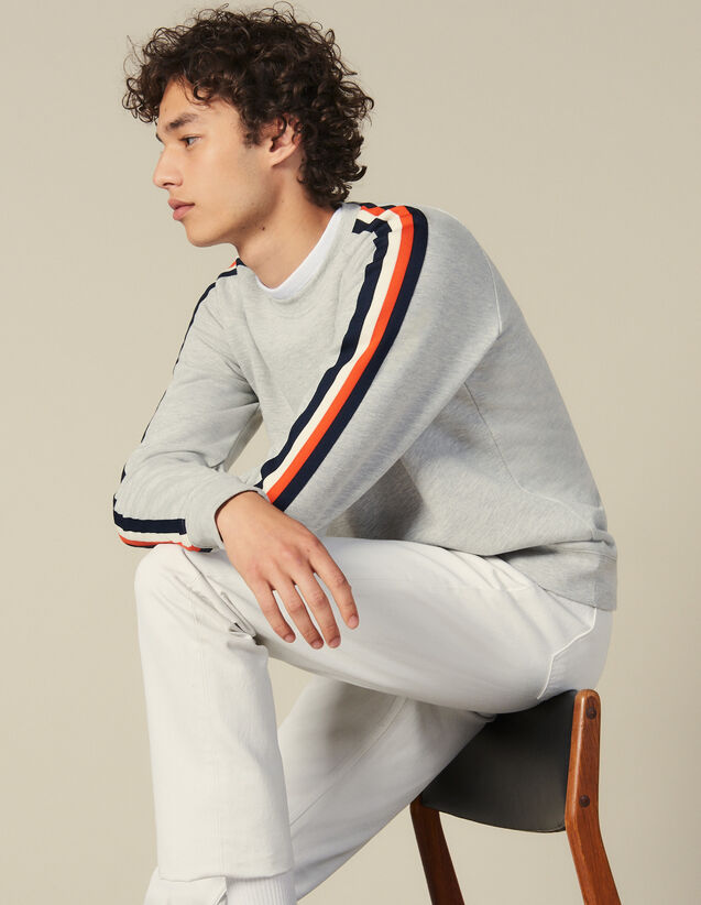 Sweatshirt With Stripes On The Sleeves : Winter Collection color Mocked Grey