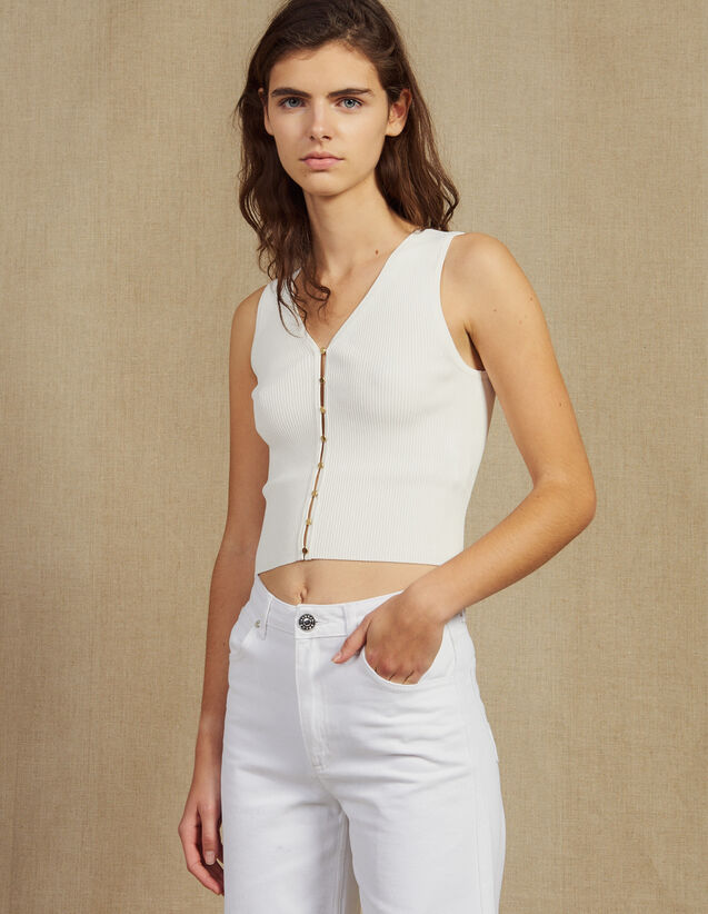 Knit Top With Jewelled Buttons : LastChance-FR-FSelection color white
