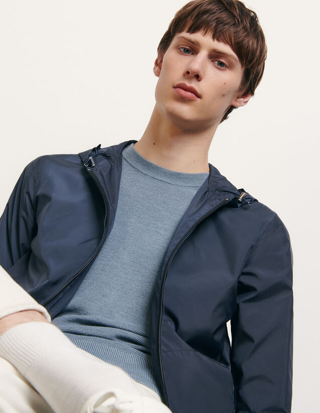 Technical jacket with hood : New Summer Collection color Navy Blue