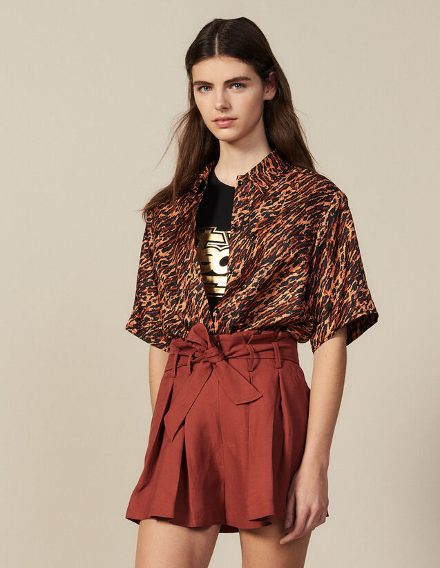 Pleated Shorts With Tie Belt : New In color Wine