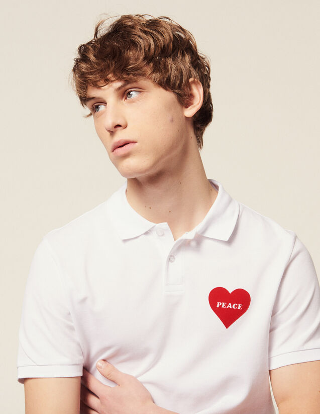 Cotton Piqué Polo Shirt, Flocked Heart : T-shirts & Polo shirts color white