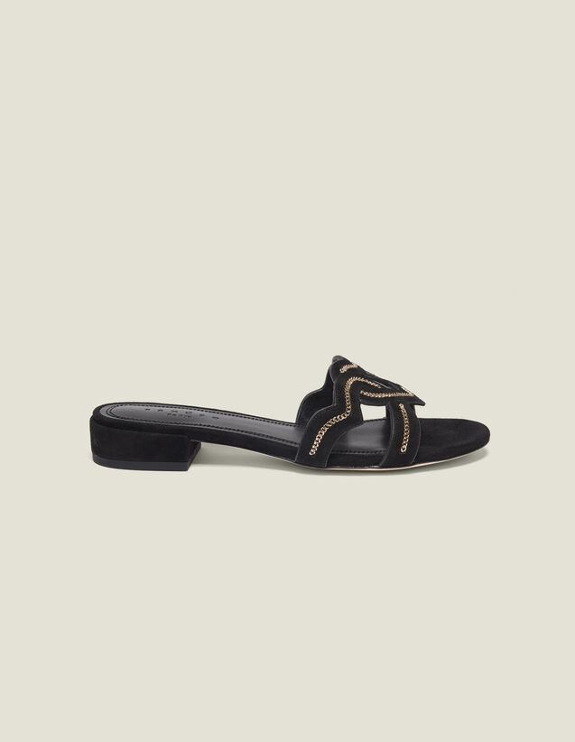 Heart Goatskin Suede Sandals : All Shoes color Black