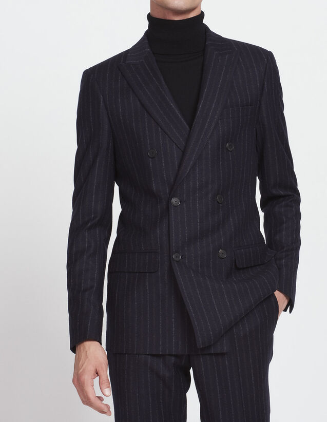 Double-breasted striped suit jacket : All Selection color Navy Blue