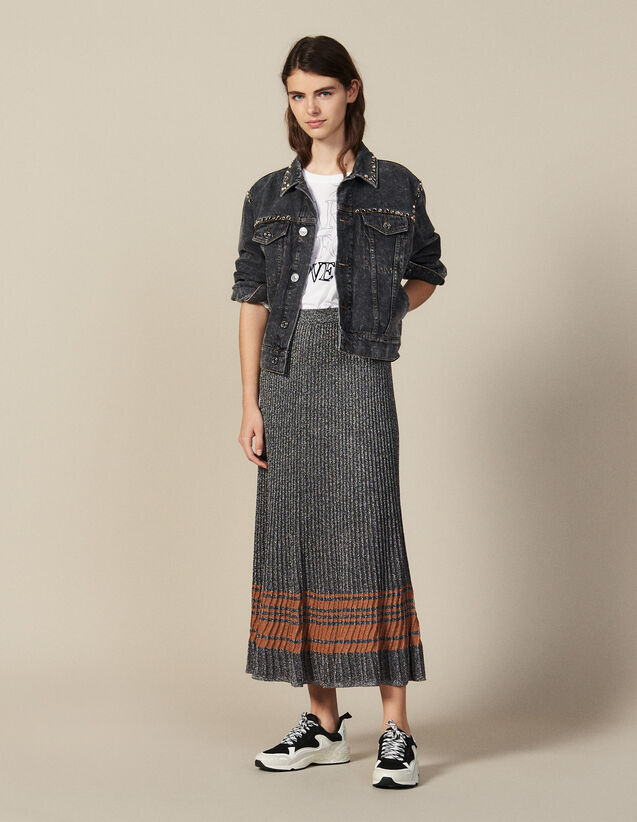 Lurex Knit Midi Skirt : New In color Silver