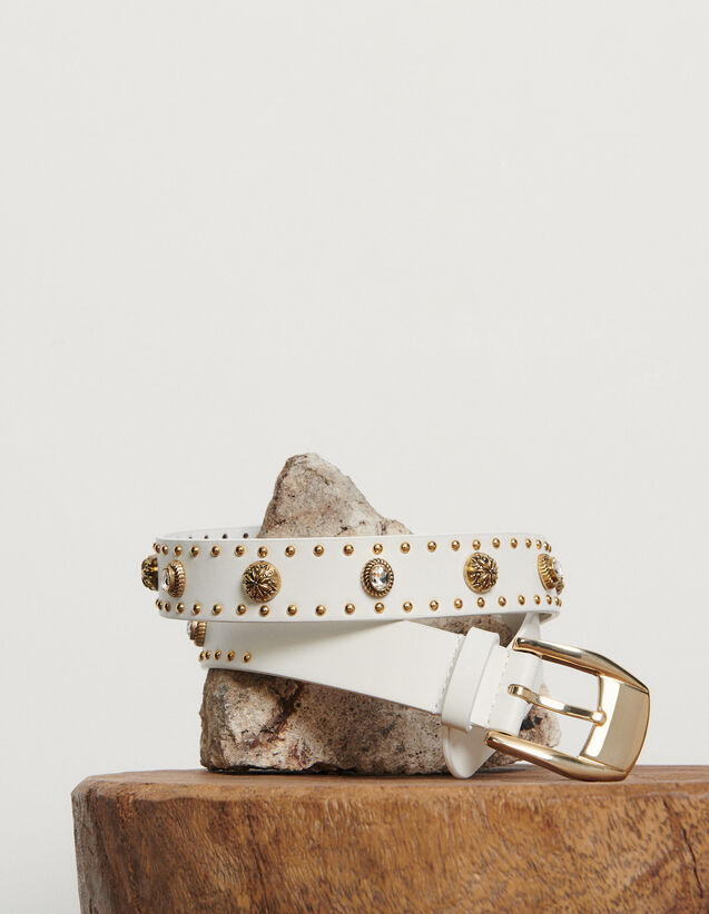 Belt trimmed with rivets : New Summer Collection color white