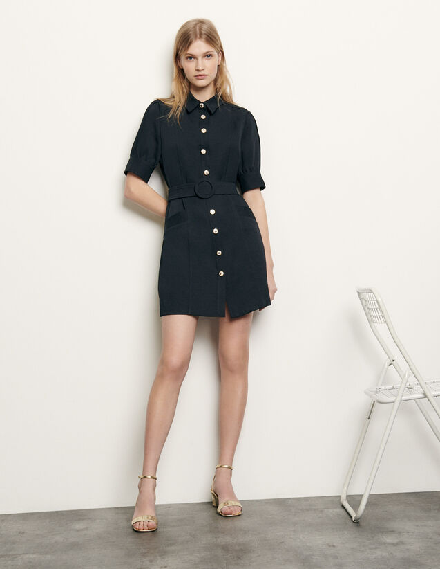 Shirt dress with decorative buttons : New Summer Collection color Navy Blue