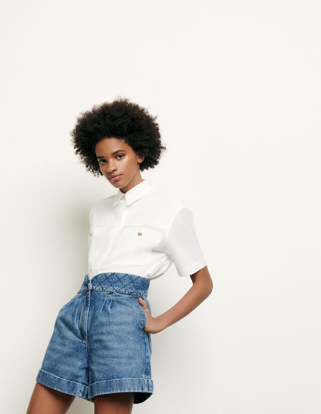 Denim shorts with quilted belt : New Summer Collection color Blue Vintage - Denim