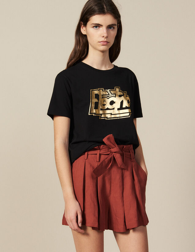 Cotton T-Shirt With Lettering : New In color Black