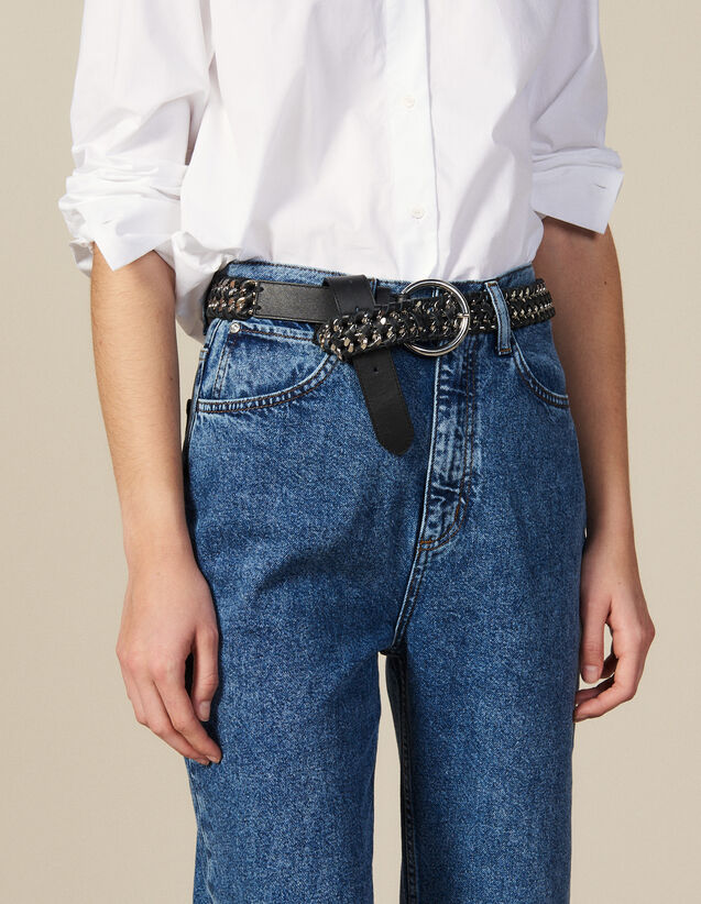 Wide Leather And Chain Belt : Copy of VP-FR-FSelection-ACCESS color Black