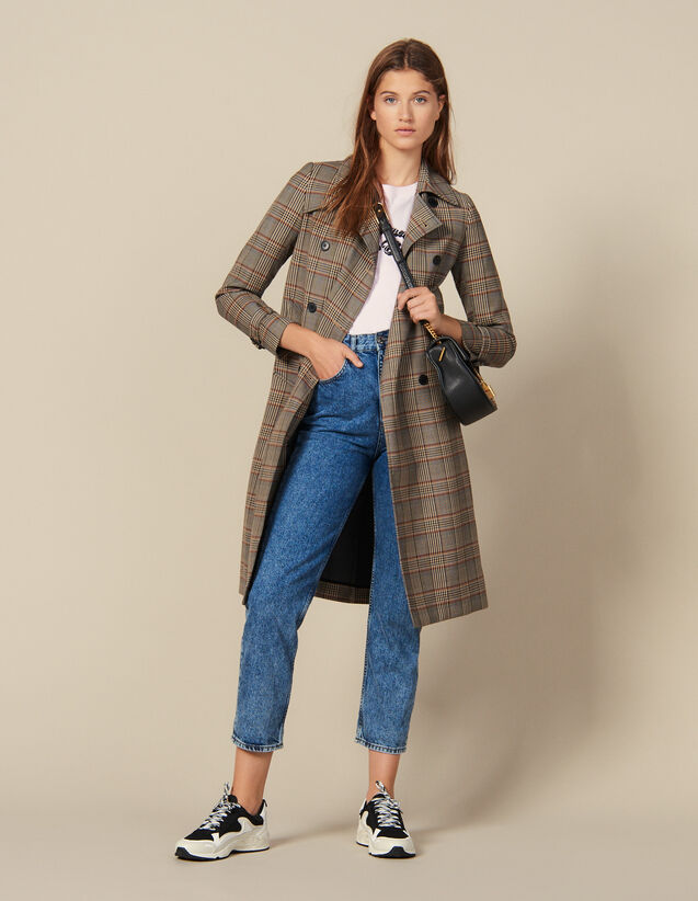 Checked Trench Coat : New In color Multi-Color