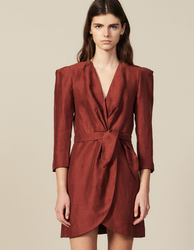 Short Wraparound Dress : New In color Wine