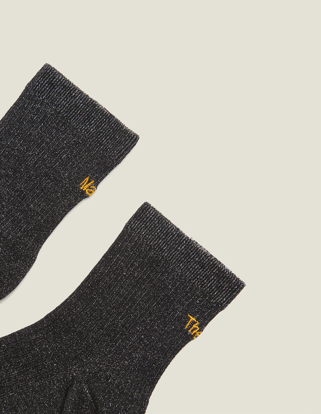 Lurex Embroidered Socks : Socks color Black