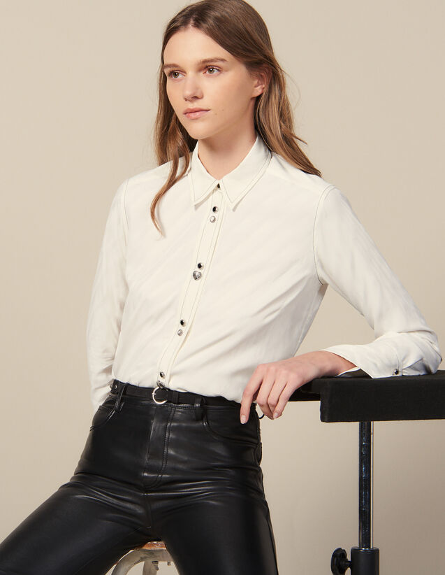 Shirt Adorned With Jewelled Buttons : FBlackFriday-FR-FSelection-30 color Ecru