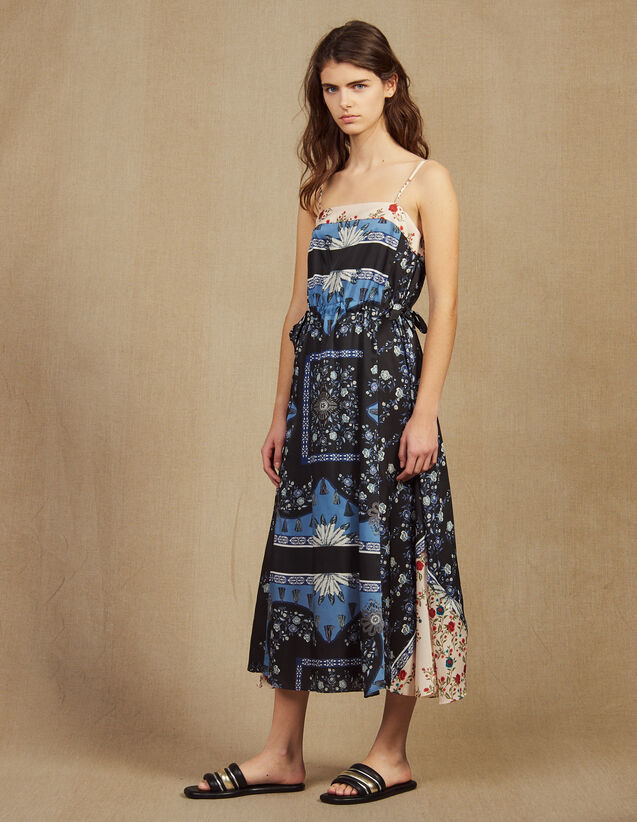 Floaty Midi Dress In A Mixture Of Prints : Dresses color Blue