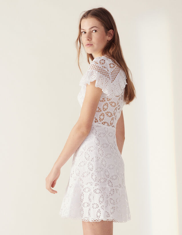 Ruffled Lace Dress : LastChance-FR-FSelection color white